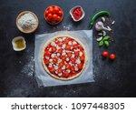 production of italian pizza... | Shutterstock . vector #1097448305