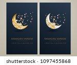 ramadan kareem dark blue   gold ... | Shutterstock .eps vector #1097455868