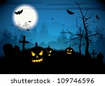 halloween night with pumpkins... | Shutterstock .eps vector #109746596