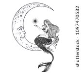 beautiful mermaid on the moon... | Shutterstock .eps vector #1097470532