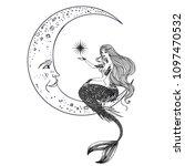 beautiful mermaid on the moon... | Shutterstock .eps vector #1097470532