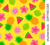 colorful tropical fruits and... | Shutterstock .eps vector #1097481185