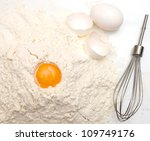 eggs with the flour background - stock photo