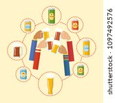 beer festival colorful poster.... | Shutterstock .eps vector #1097492576