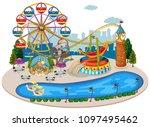 a map of fun fair illustration | Shutterstock .eps vector #1097495462