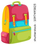 a colourful backpack on white... | Shutterstock .eps vector #1097495825