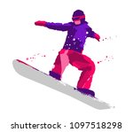 silhouette of a snowboarder... | Shutterstock .eps vector #1097518298