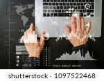 investor analyzing stock market ... | Shutterstock . vector #1097522468