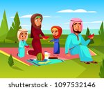 arabian family at picnic vector ... | Shutterstock .eps vector #1097532146