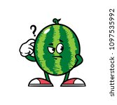 cartoon confused watermelon... | Shutterstock .eps vector #1097535992