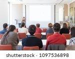 female speaker giving... | Shutterstock . vector #1097536898