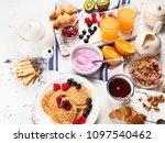 healthy tasty breakfast. top... | Shutterstock . vector #1097540462
