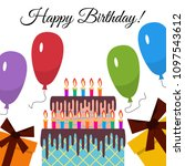 greeting card with sweet cake... | Shutterstock .eps vector #1097543612