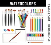 watercolor tools and supplies ... | Shutterstock .eps vector #1097544968