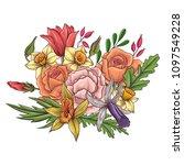 vintage vector floral... | Shutterstock .eps vector #1097549228