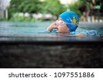 asian little girl swimming in... | Shutterstock . vector #1097551886