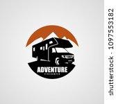 Adventure RV Camper Car Logo Designs Template - stock vector