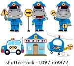 Vector Cartoon Set Of Hippo Th...