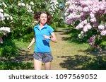 woman runner jogging in spring...   Shutterstock . vector #1097569052