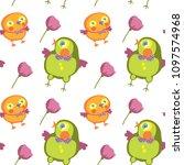 seamless pattern of bird and... | Shutterstock .eps vector #1097574968