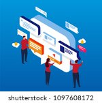 isometric dialogue and... | Shutterstock .eps vector #1097608172