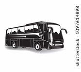 travel bus monochrome sign... | Shutterstock .eps vector #1097614898