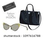 fashion accessory. sunglasses... | Shutterstock .eps vector #1097616788