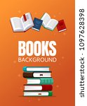 vertical books background... | Shutterstock .eps vector #1097628398