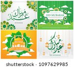 eid mubarak greeting background ... | Shutterstock .eps vector #1097629985