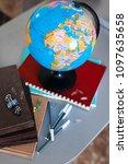 globe  with school accessories  ... | Shutterstock . vector #1097635658