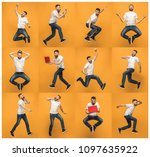 jump of young man over orange... | Shutterstock . vector #1097635922