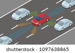autonomous car driving on road... | Shutterstock .eps vector #1097638865