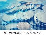 double exposure of graph  stock ...   Shutterstock . vector #1097642522