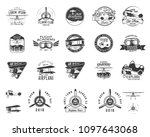 vintage hand drawn old fly... | Shutterstock . vector #1097643068
