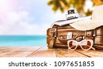 suitcase of summer time and... | Shutterstock . vector #1097651855