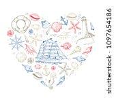 vector heart from summer marine ... | Shutterstock .eps vector #1097654186