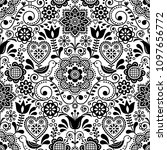 seamless folk art vector... | Shutterstock .eps vector #1097656772