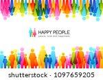 social conceptual illustration. ... | Shutterstock .eps vector #1097659205