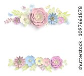 paper art  summer flowers on a... | Shutterstock .eps vector #1097661878
