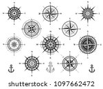 set of wind roses silhouettes...   Shutterstock .eps vector #1097662472