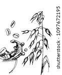 corn flakes oats milk spray 3d... | Shutterstock .eps vector #1097672195