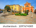 houses and ajaccio cathedral ... | Shutterstock . vector #1097674385