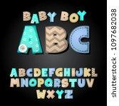 cute textile alphabet set  for... | Shutterstock .eps vector #1097682038