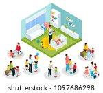 isometric babysitter and kids... | Shutterstock .eps vector #1097686298