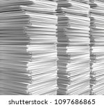 stack of clean  white paper. 3d ... | Shutterstock . vector #1097686865