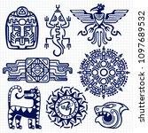 ballpoint pen american aztec ... | Shutterstock . vector #1097689532