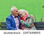 elderly couple on a walk in the ... | Shutterstock . vector #1097698895