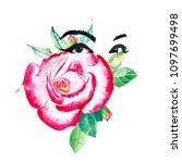 watercolor fashion mascara eyes ... | Shutterstock . vector #1097699498