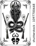 snake tattoo cobra | Shutterstock . vector #1097700668
