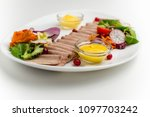 slices of tongue with vegetables | Shutterstock . vector #1097703242